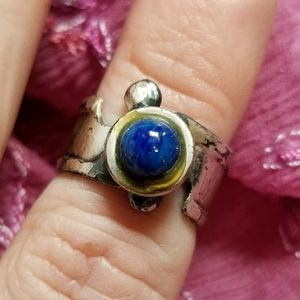 Unusual vintage blue cab ring silver tone freeform